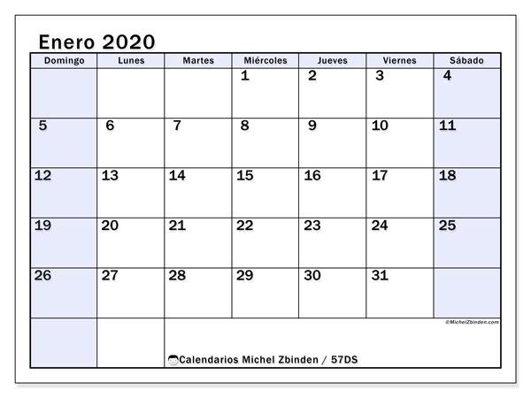 Calendario enero 2020, 57DS. Calendario imprimible gratis.