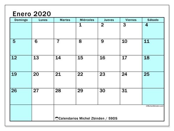 Calendario enero 2020, 59DS. Almanaque para imprimir gratis.
