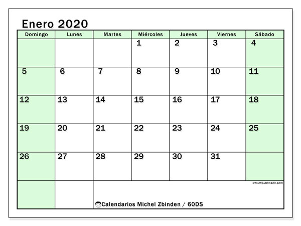 Calendario enero 2020, 60DS. Calendario imprimible gratis.