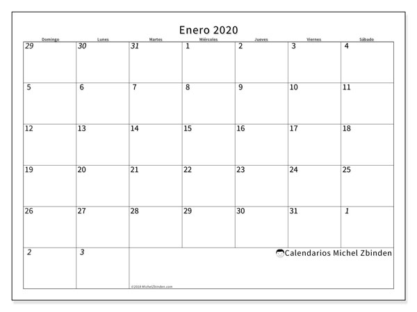 Calendario enero 2020, 70DS. Planificación para imprimir gratis.