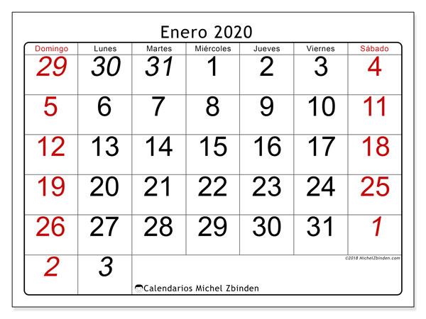 Calendario Mes De Enero 2020.Calendario Enero 2020 72ds Michel Zbinden Es