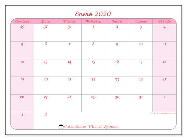 calendarios enero 2020  ds