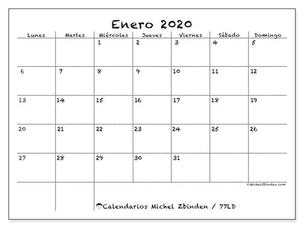 Calendario Marzo 2020 Para Imprimir Pdf.Calendarios Para Imprimir 2020 Ld Michel Zbinden Es
