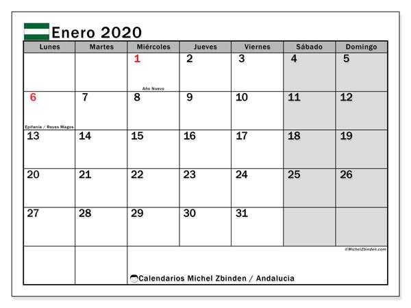 Calendario Escolar 2020 Andalucia.Calendario Enero 2020 Andalucia Espana Michel Zbinden Es