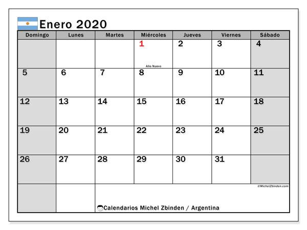 Calendario enero 2020, con días feriados en Argentina. Calendario vacaciones y festivos para imprimir gratis.