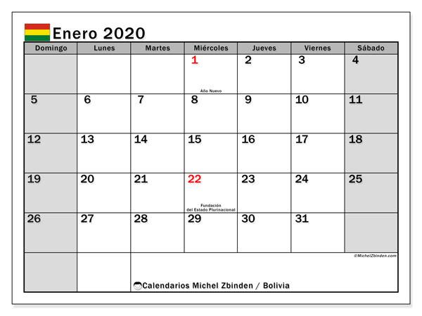 Calendario enero 2020, con días feriados de Bolivia. Calendario para imprimir gratis con días festivos.