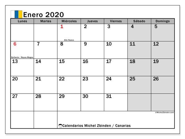 Calendario enero 2020, con días feriados en las Islas Canarias. Calendario vacaciones y festivos para imprimir gratis.