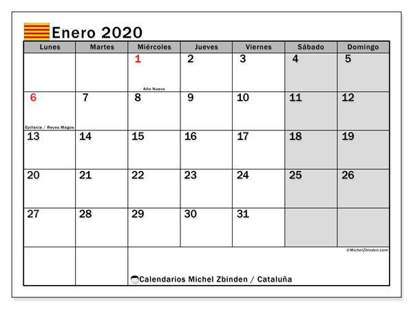 Calendario Catalunya 2020.Calendario Enero 2020 Cataluna Espana Michel Zbinden Es