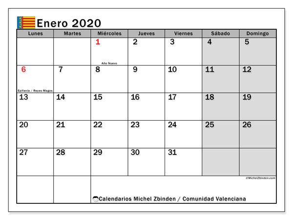Calendario enero 2020, con días feriados de la Comunidad Valenciana. Calendario vacaciones y festivos para imprimir gratis.