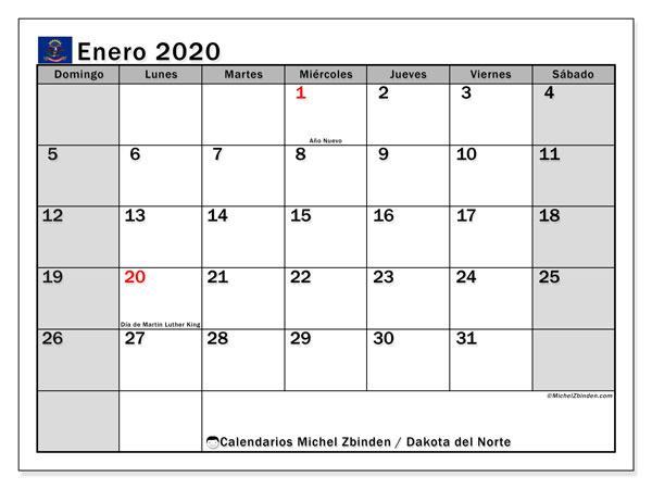 Calendario enero 2020, con días feriados en Dakota del Norte. Calendario para imprimir gratis con días festivos.