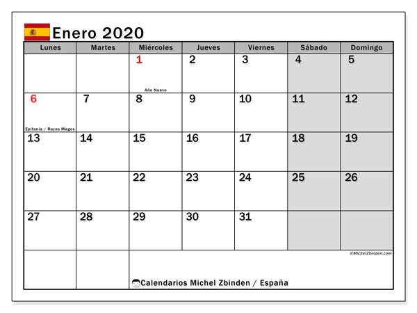 Calendario enero 2020, con días feriados en España. Calendario vacaciones y festivos para imprimir gratis.