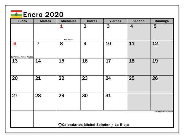 Calendario enero 2020, con días feriados en La Rioja. Calendario vacaciones y festivos para imprimir gratis.