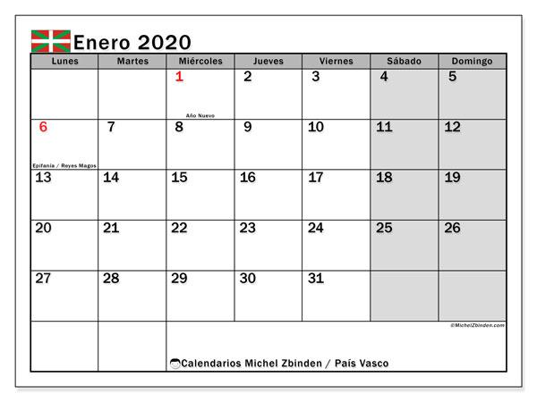 Calendario enero 2020, con días feriados en el País Vasco. Calendario para imprimir gratis con días festivos.