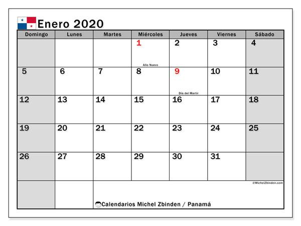 Calendario enero 2020, con días feriados de Panamá. Calendario para imprimir gratis con días festivos.