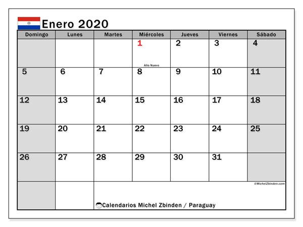 Calendario enero 2020, con días feriados en Paraguay. Calendario vacaciones y festivos para imprimir gratis.