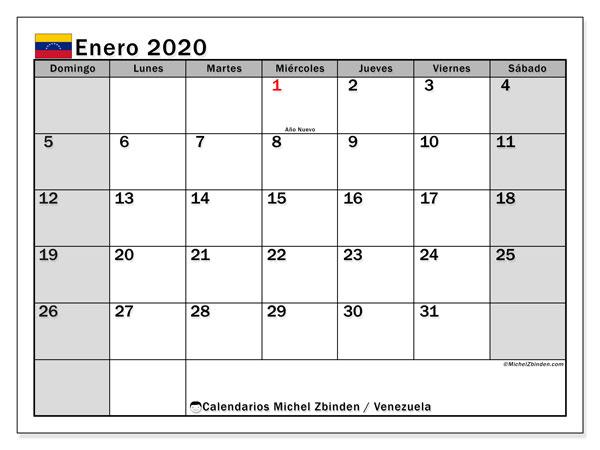 Calendario enero 2020, con días feriados en Venezuela. Calendario para imprimir gratis con días festivos.