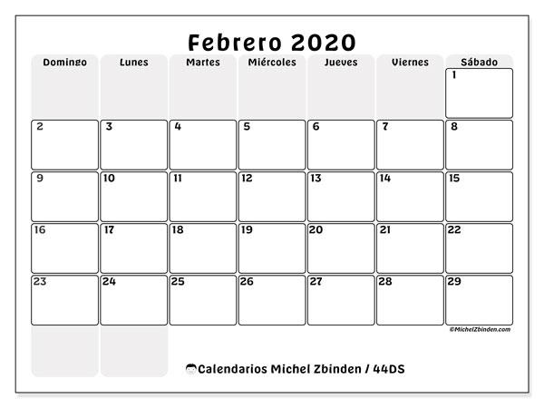 Calendario febrero 2020, 44DS. Calendario imprimible gratis.