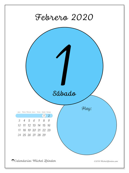 calendarios febrero 2020  ld