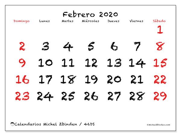 Calendario febrero 2020, 46DS. Calendario imprimible gratis.