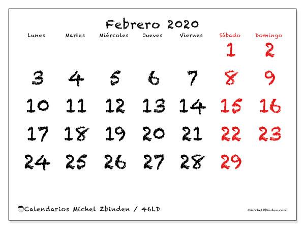 Calendario febrero 2020, 46LD. Calendario para el mes para imprimir gratis.