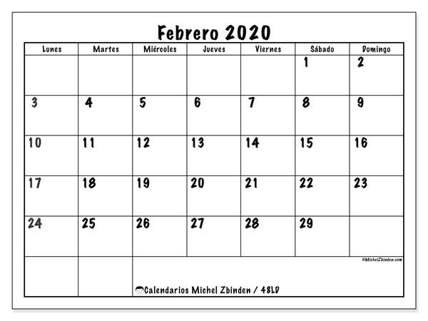 Calendario febrero 2020, 48LD. Calendario para el mes para imprimir gratis.