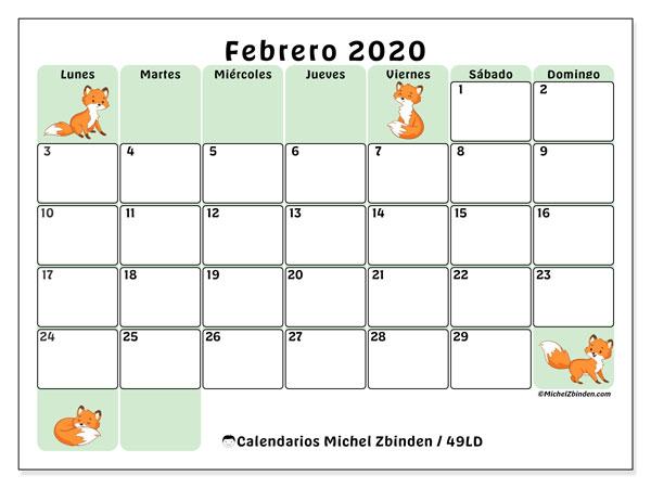 Calendario febrero 2020, 49LD. Calendario gratuito para imprimir.