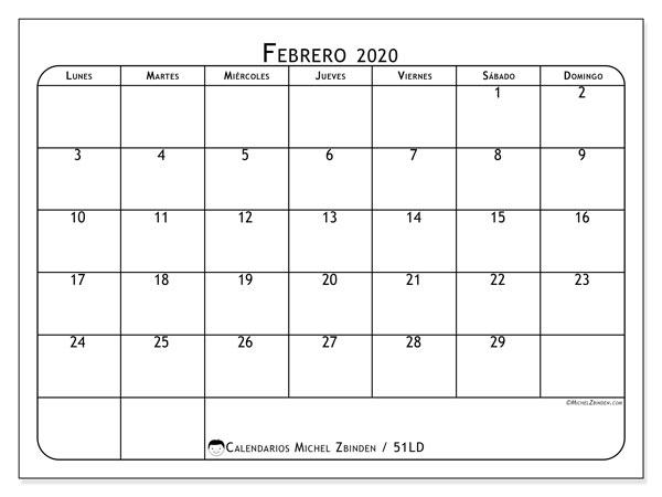 Calendario Febrero 2020 Colombia.Calendarios Febrero 2020 Ld Michel Zbinden Es