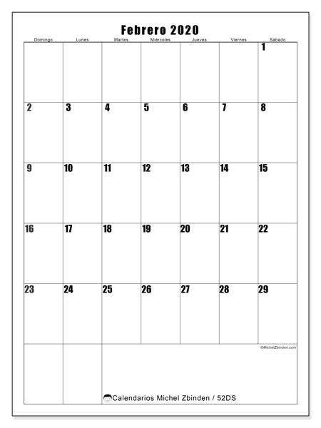 Calendario febrero 2020, 52DS. Almanaque para imprimir gratis.