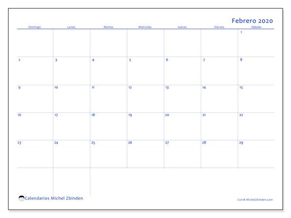 Calendario febrero 2020, 55DS. Almanaque para imprimir gratis.
