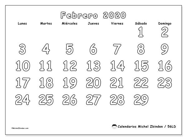 Calendario Febrero 2020 56ld Michel Zbinden Es