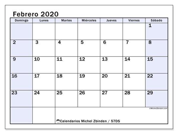 Calendario febrero 2020, 57DS. Calendario imprimible gratis.