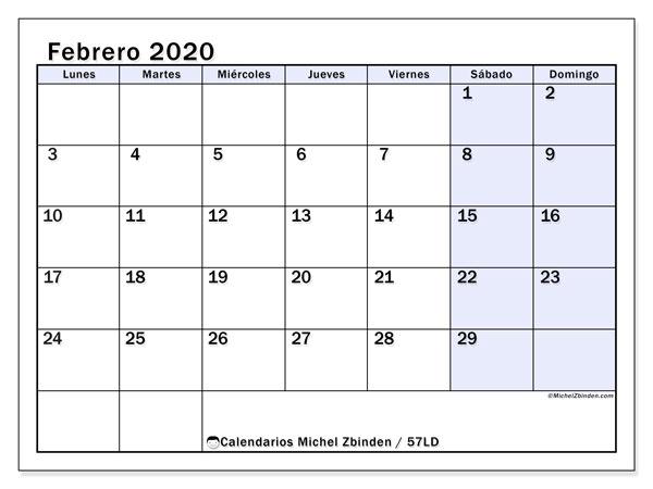Febrero 2020 Calendario.Calendarios Febrero 2020 Ld Michel Zbinden Es