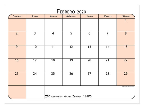 Calendario febrero 2020, 61DS. Planificación para imprimir gratis.
