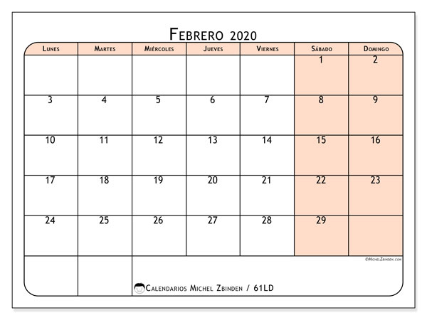 Calendario febrero 2020, 61LD. Calendario para el mes para imprimir gratis.