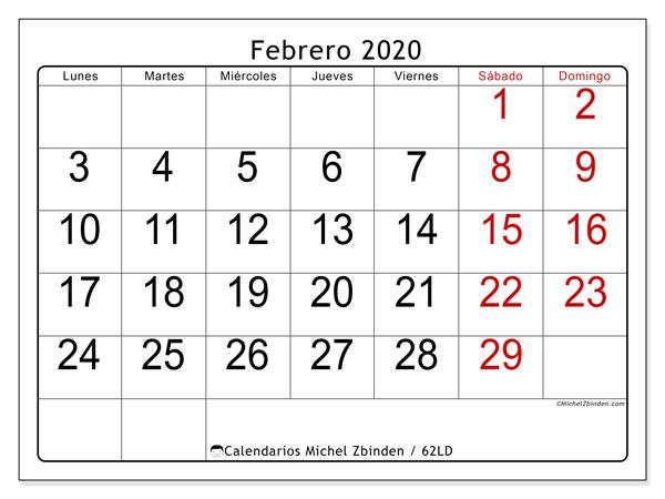 Calendario febrero 2020, 62LD. Planificación para imprimir gratis.