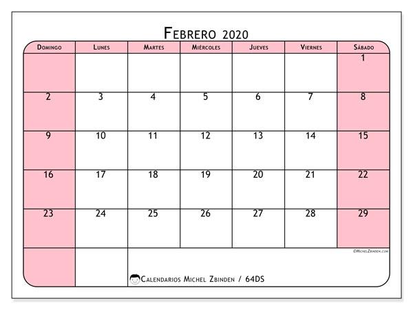 Calendario febrero 2020, 64DS. Calendario para el mes para imprimir gratis.