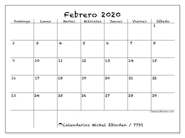 Calendario Agenda 2020 Para Imprimir.Calendario Febrero 2020 77ds Michel Zbinden Es