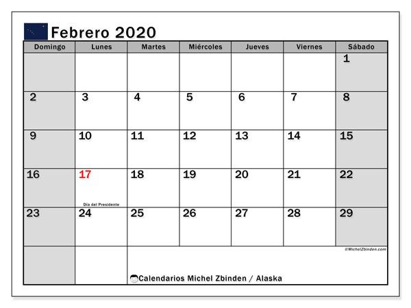 Calendario febrero 2020, con días feriados en Alaska. Calendario para imprimir gratis con días festivos.
