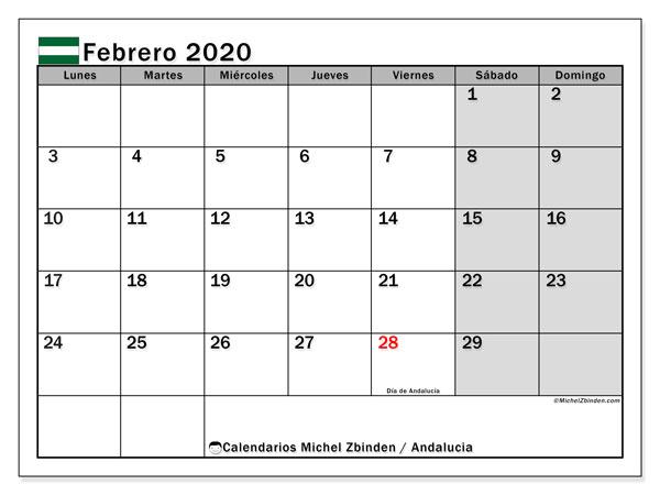 Calendario febrero 2020, con días feriados en Andalucía. Calendario para imprimir gratis con días festivos.
