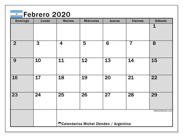 Calendario febrero 2020, con días feriados en Argentina. Calendario vacaciones y festivos para imprimir gratis.