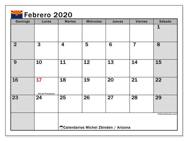 Calendario febrero 2020, con días feriados en Arizona. Calendario para imprimir gratis con días festivos.