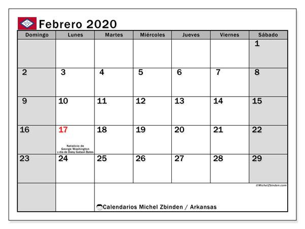 Calendario febrero 2020, con días feriados de Arkansas. Calendario para imprimir gratis con días festivos.