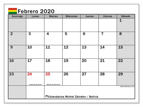 Calendario febrero 2020, con días feriados de Bolivia. Calendario vacaciones y festivos para imprimir gratis.