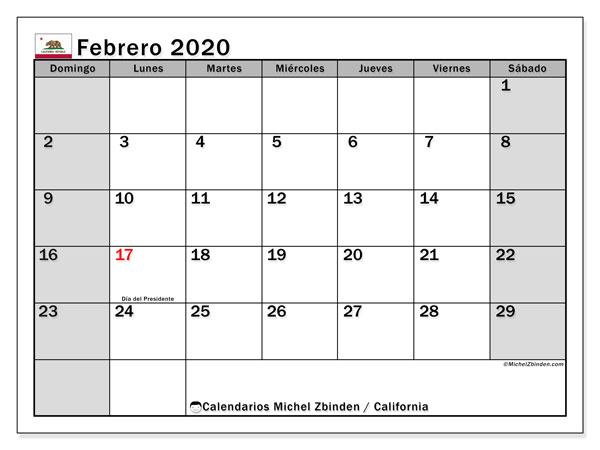 Calendario febrero 2020, con días feriados de California. Calendario vacaciones y festivos para imprimir gratis.