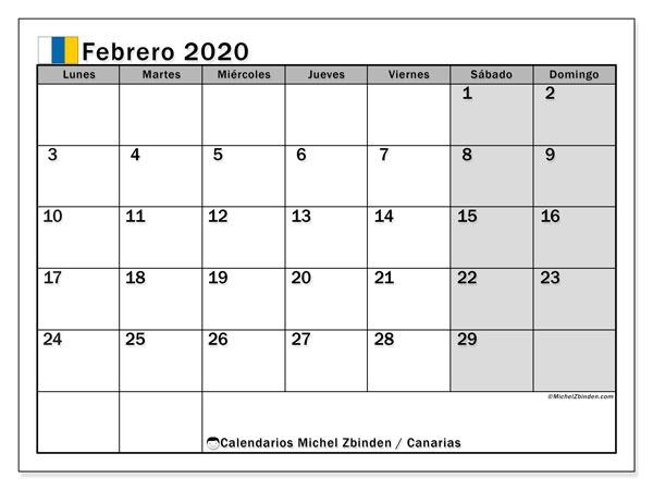 Calendario febrero 2020, con días feriados en las Islas Canarias. Calendario vacaciones y festivos para imprimir gratis.