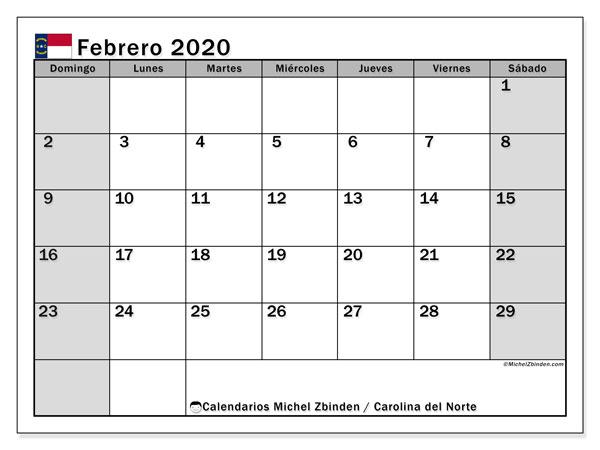 Calendario febrero 2020, con días feriados en Carolina del Norte. Calendario para imprimir gratis con días festivos.