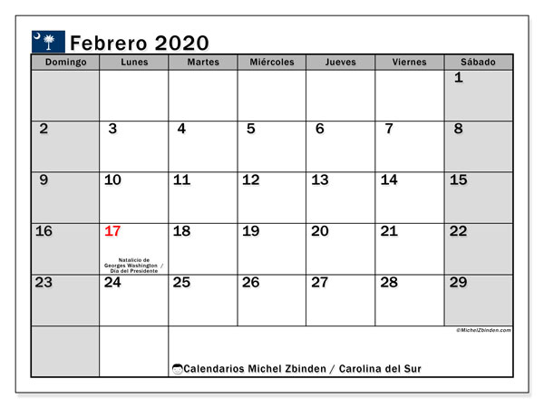 Calendario febrero 2020, con días feriados en Carolina del Sur. Calendario vacaciones y festivos para imprimir gratis.