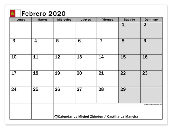 Calendario febrero 2020, con días feriados en Castilla-La Mancha. Calendario vacaciones y festivos para imprimir gratis.