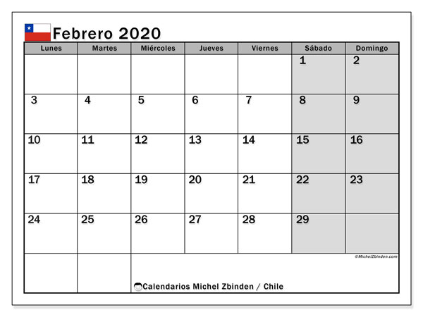 Calendario febrero 2020, con días feriados en Chile. Calendario vacaciones y festivos para imprimir gratis.
