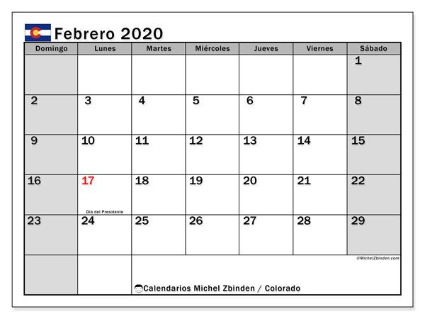 Calendario febrero 2020, con días feriados en Colorado. Calendario para imprimir gratis con días festivos.